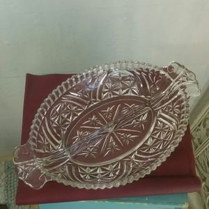 Other - Oval Divided Handled Clear Relish Dish
